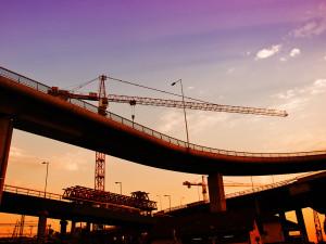 Construction crane in dusk